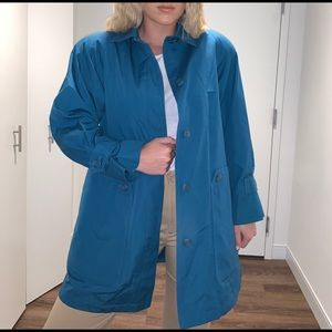 London Fog Bright blue longline coat